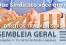 Assembleia Geral dos comerciários de Bento Gonçalves acontecerá no dia 27 de novembro